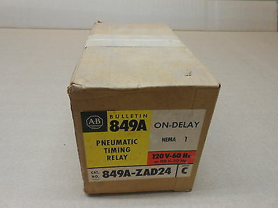 1 Nib Allen Bradley 849A-Zad24 849Azad24 Pneumatic Timing Relay Nema 1 On Delay