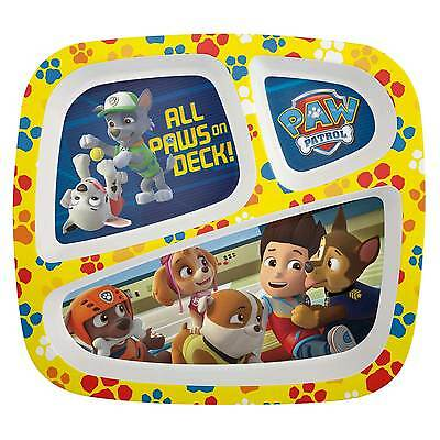 PAW PATROL-3-section divided melamine plate-new