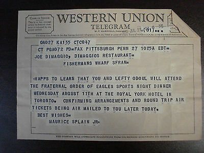 Joe DiMaggio Western Union Telegram From Maurice Splain Confirming Arrangements