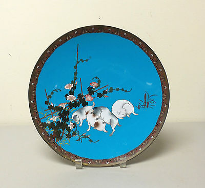 "19th C. Japanese Cloisonne Enamel 12"" Charger, Playful Puppies"