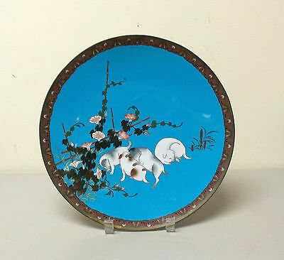 "UNUSUAL 19th C. JAPANESE CLOISONNE ENAMEL 12"" CHARGER with PLAYFUL PUPPIES"