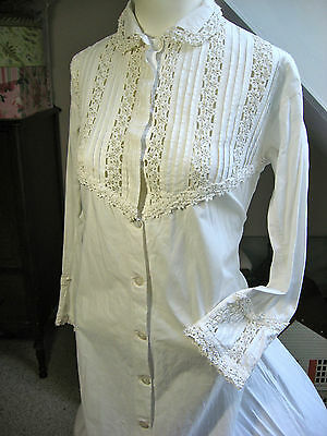 Antique Victorian Edwardian Period White Night Dress Gown From Museum Collection