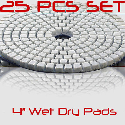 Diamond Polishing Pads 4 Inch 25 piece Set Wet Dry For Granite Concrete Marble