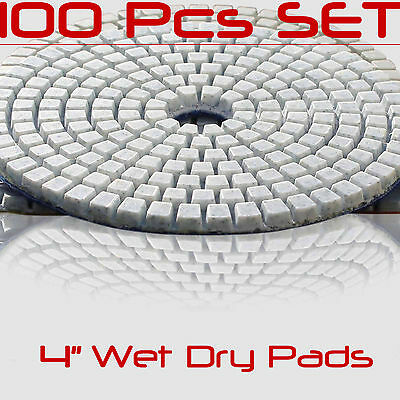 Diamond Polishing Pads 4 Inch 100 piece Set Wet Dry For Granite Concrete Marble