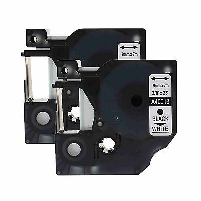 2 PK Black on White Compatible for DYMO D1 40913 S0720680 label tape 9mm