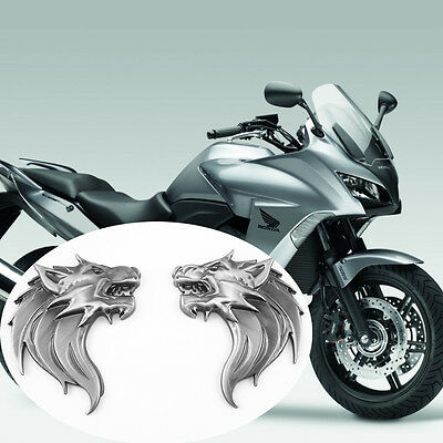 2 Pcs Black 100% Metal 3D Wolf Head 3M Decals Stickers Emblem Badge Motorcycles