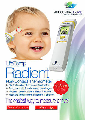 Lifetemp Radient NON-CONTACT THERMOMETER BODY WATER ROOM baby temperature