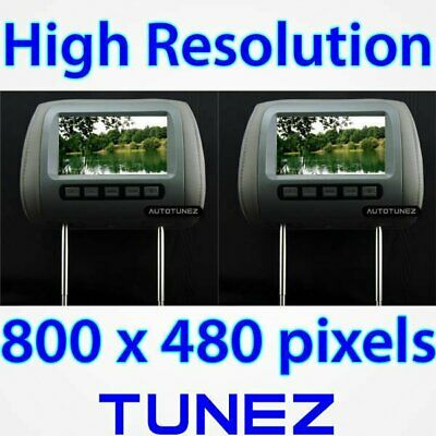 "2 x 7"" Dual HD Headrest Pillow Rear Monitor Screen Display For Car DVD Player GT"