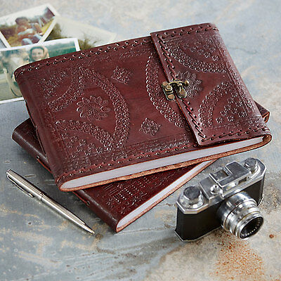 Indra Fair Trade Handmade Medium Embossed Stitched Leather Photo Album
