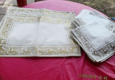 10 Placemats 13 Dinner Napkins Hayim & Co Hand Woven Deer Stag Border Cotton