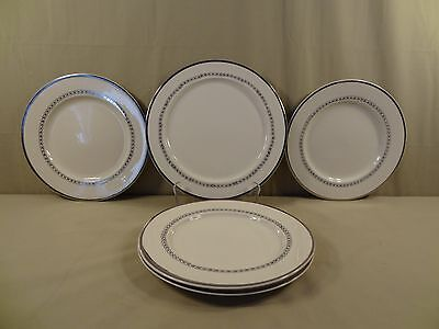 "Taylor, Smith & Taylor China ""Silver Oak"" 4 Dinner Plates & 1 Round Platter"