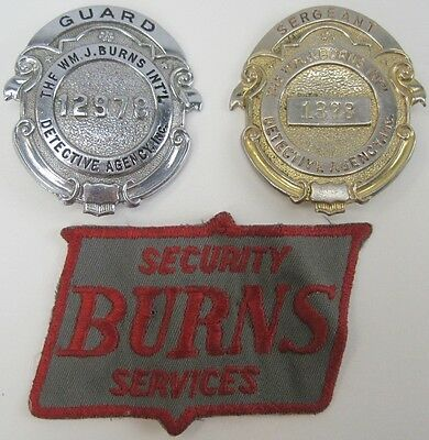 Wm.J.Burns Int'l Detective Agency Guard and Sergeant Badge Hallmarked + Patch