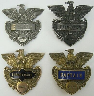 Lot of 4 Vintage United States Green County PA Police Hat Badges / Badges