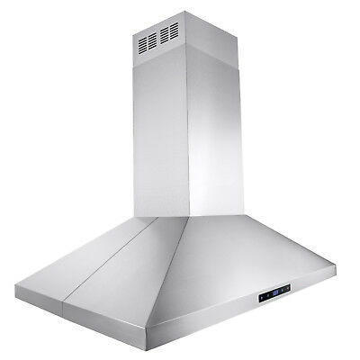 """36"""" Stainless Steel Island Mount Range Hood Touch Screen Display Vents"""