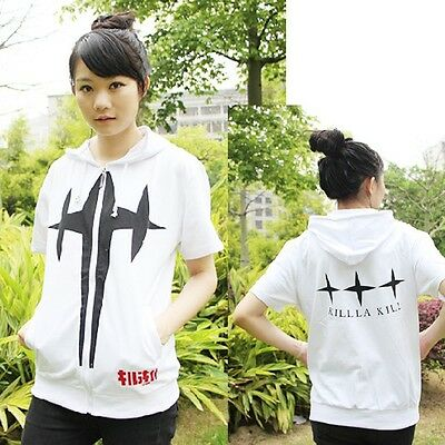 Hot Anime Kill La Kill Zipper Hoodie T-shirt Tee Tops White
