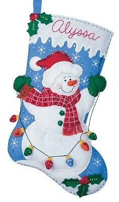 Bucilla Felt Applique Christmas Stocking Kit: Snowman with Lights. Free Delivery