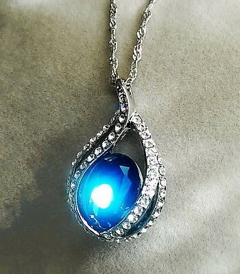 Silver Blue Sapphire Teardrop Wedding Necklace Made With Swarovski Crystal N23