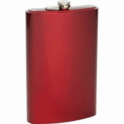 Red JUMBO BIG 64 oz FLASK Stainless Steel Party Screw Cap Liquor 1/2 Gallon Size