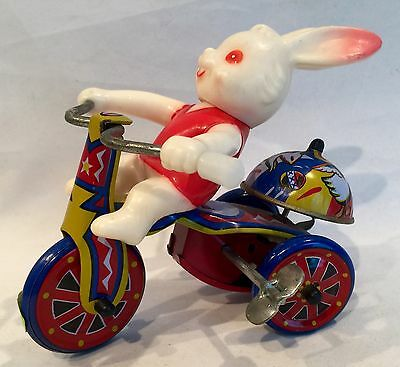 Vintage Tin Wind-up Rabbit on Tricycle with Bell Works!