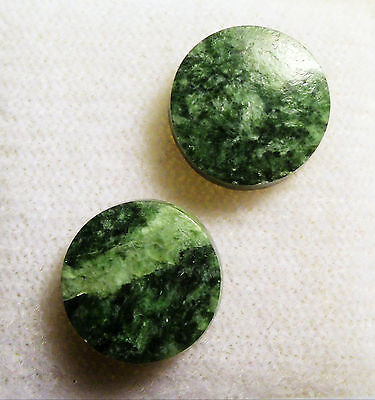 VERY NICE VINTAGE WYOMING JADE 9 mm ROUND LOW DOME CAB 2 PIECE LOT