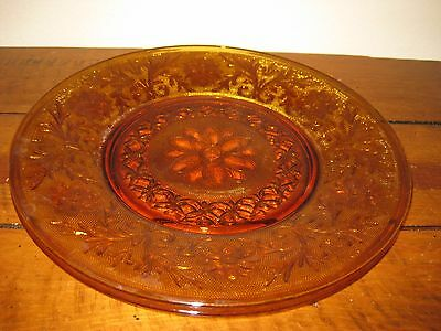 """Two (2) Vintage Indiana Tiara Amber Glass 12"""" Plates Platters Cut Floral Design"""