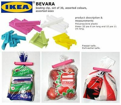 IKEA Bevara 10 Large-20 Small Food Storage Clips Freezer Fridge Bag Sealing Clip