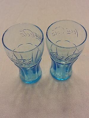 "ICE BLUE Coca-Cola 16 oz glasses 6 1/2"" tall LOT of 2"