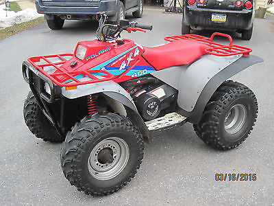 1994 Polaris 400 4x4 ATV 4 wheeler with plow and electric lift with hand control