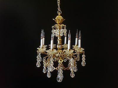 Dollhouse Miniature Handcrafted 8 Arm Crystal Chandelier 12V