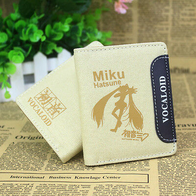 2015 new Hatsune Miku anime pu &canvas wallet  bi-fold bag