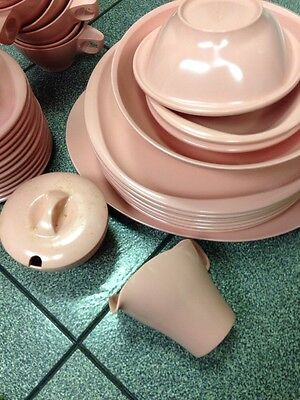 Set Pink Vintage Retro Plastic Boontonware Usa Dinnerware Dishes