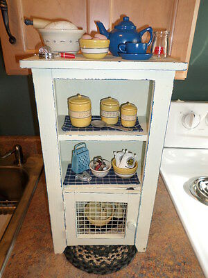 Vintage Toy Kitchen - PRIMITIVE Spice Cabinet LOADED w/Goodies!  MUST SEE!!