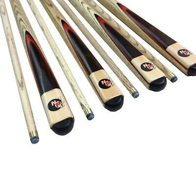Wooden Maple Pool Snooker Billiard Cue Stick Set 4 x Two Piece Cues screw Tips