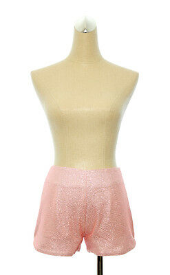 Pink Blush Shimmer Mid Rise Mini Shorts Clubwear or Casual