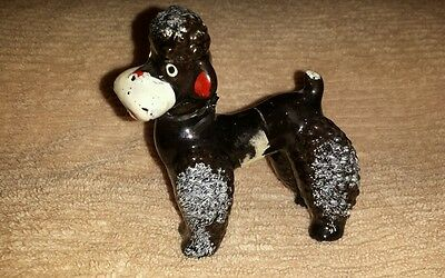 Awesome vintage 1950's Wales porcelain Poodle figurine with original sticker