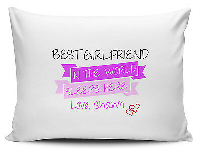 Personalised Best Girlfriend In The World Sleeps Here Pillow Cases - Brand New