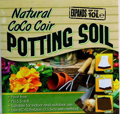 Potting Compost Soil 10 L Plants coconut Coir Flowers Seeds Compact Eco New