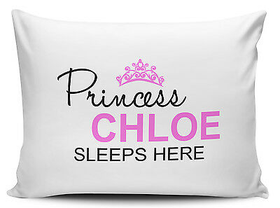 Personalised Princess Sleeps Here Pillow Case - Brand New