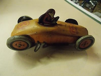 vintage 1920 J Chein tin race car wind-up #3 with driver for Boys & Grils