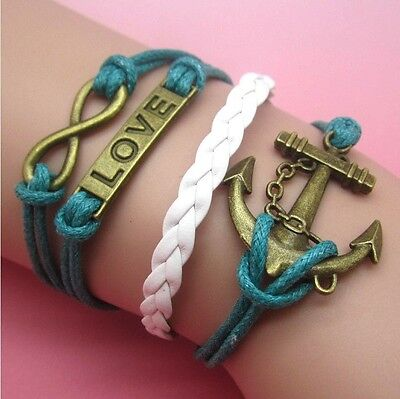 NEW Hot Infinity Love Anchor Leather Cute Charm Bracelet plated Bronze DIY SL78E