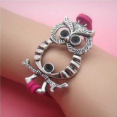 NEW Hot Owl Anchor Leather Cute Charm Bracelet plated Silver DIY SL74E