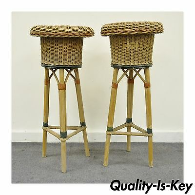 Pair Vintage Primitive Victorian Painted Wicker Rattan Plant Stand Planters