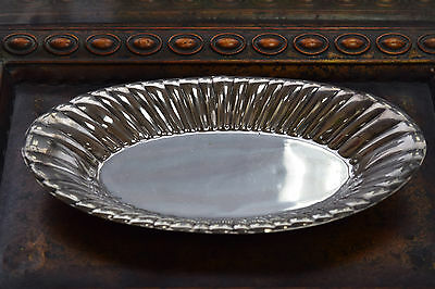 925 Sterling Silver Reed & Barton Oval Serving Tray Ribbed Walls X305