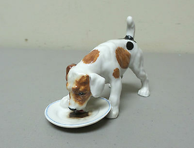 VINTAGE ROYAL DOULTON JACK RUSSELL DOG FIGURINE EATING w/ PLATE HN1158, RETIRED