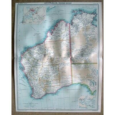 AUSTRALIA Western Section; Inset of Perth and Albany - Vintage Map 1922