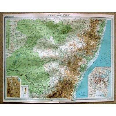 AUSTRALIA New South Wales; inset of Sydney - Vintage Map 1922 by Bartholomew
