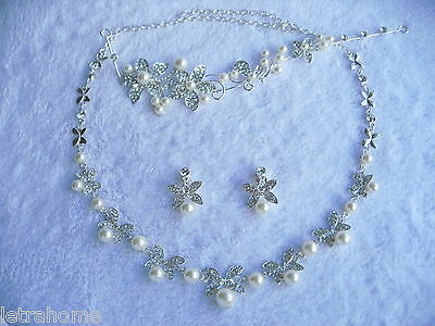 White Shell Pearl Butterfly Flower Bride Headband Necklace Clip on Earrings Sets