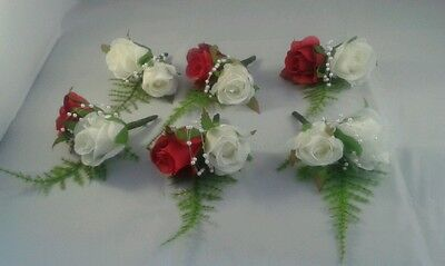DOUBLE WEDDING BUTTONHOLES RED &WHITE x 5
