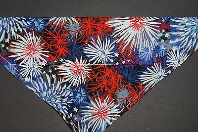 Dog Bandana, OVER THE COLLAR,clothes, pet, Size S,M,L,XL, Patriotic Fireworks!