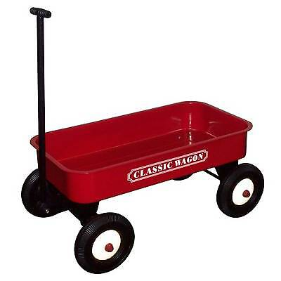 Great Gizmos Childs / Kids Pull Along Retro Steel Cart / Wagon / Trailer - Red